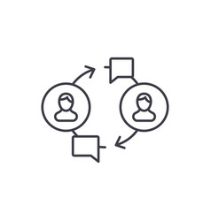 community line icon concept community vector image