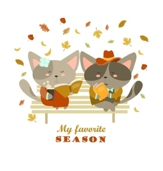 Couple cats sitting on bench reading books and vector