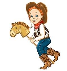 cowboy kid and toy horse vector image vector image