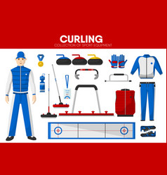 Curling sport equipment game player garment vector