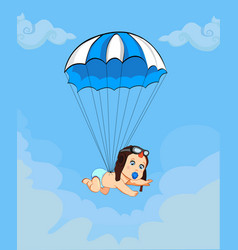 Cute baby in pilot hat falling down with blue vector