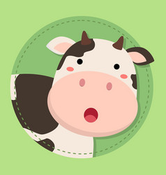 Cute cow moo face on green circle vector