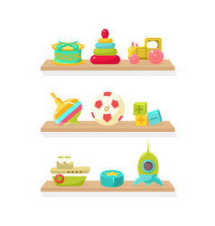 cute kids toys on wooden shelves drum pyramid vector image