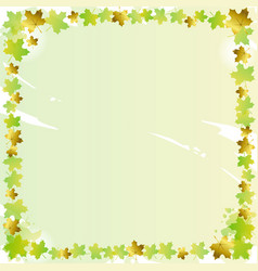 Decorative square frame of green and golden maple vector