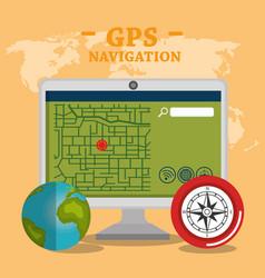Desktop computer with gps navigation software vector