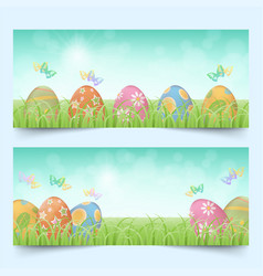 easter eggs in a row banners set vector image