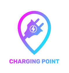 Electric charging point map pointer location of vector