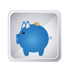 Emblem blue pig to save coin icon vector