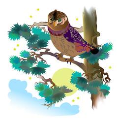Fantasy wild owl sitting on branch pine vector