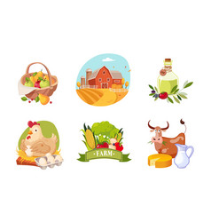 farm animals poultry and eco healthy products set vector image