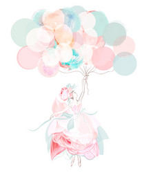 fashion beautiful girl with balloons vector image