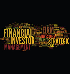 Financial investor strategic investor text vector