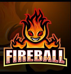 Fireball mascot esport logo design vector