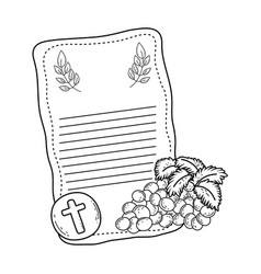 First communion card with grapes vector