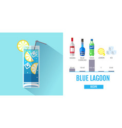 Flat style cocktail blue lagoon menu design vector