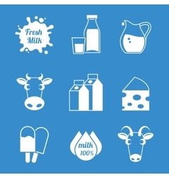 Fresh milk and dairy products icons vector image