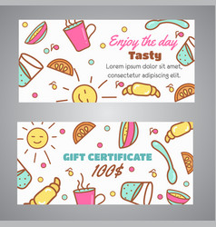 Gift certificate text enjoy the day slogan cafe vector
