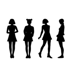 Girls students black silhouette flat vector