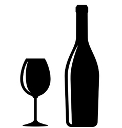 glossy wine bottle and glass vector image