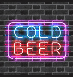 Glowing neon bar sign cold beer vector