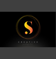 Gold artistic s letter logo design with creative vector