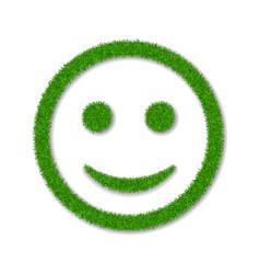 Green grass face smile 3d smiley grassy icon vector