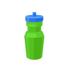 Green plastic reusable water bottle drink bottle vector