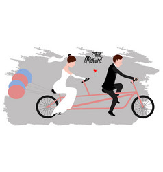 groom and bride on a bicycle just married couple vector image