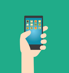 Hands hold smartphone with multimedia application vector