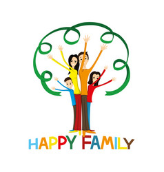 happy family holding hands up vector image
