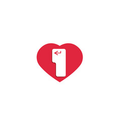 heart and enter cursor logo enter keyboard vector image