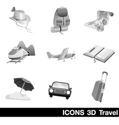 Icon Set 3D Travel vector image