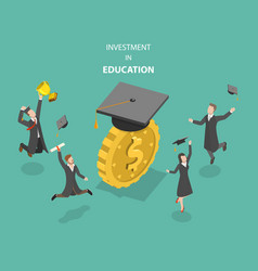 Investment in education flat isometric vector