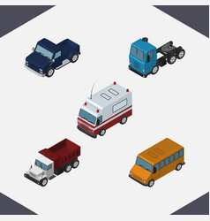 isometric automobile set of first-aid freight vector image