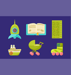 kid toys and bacare supplies set child vector image