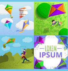 kite banner set cartoon style vector image
