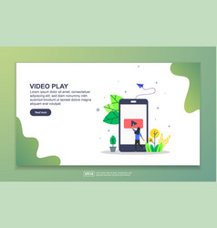 Landing page template video play modern flat vector