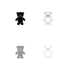little bear black and grey set icon vector image