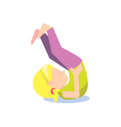 little girl doing gymnastic exercise vector image