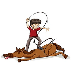 Man beating the horse vector