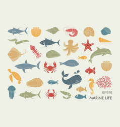 marine life icons silhouettes of sea inhabitants vector image