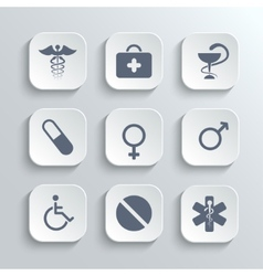 Medical icons set - white app buttons vector image
