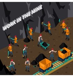 Miner People Isometric Composition vector image