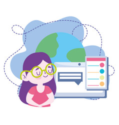 Online education student girl computer chatting vector