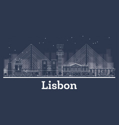 Outline lisbon portugal city skyline with white vector