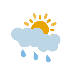 partly covered cartoon sun with rain clouds icon vector image