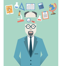 Picture of scientist with science symbols vector