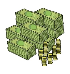 Piles of cash and coins icon in cartoon style vector image