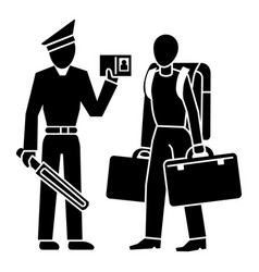 police man immigration icon simple style vector image
