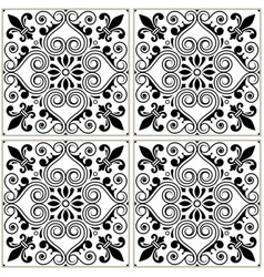 Portuguese tiles pattern - azulejo black and white vector